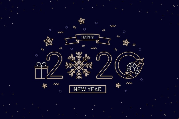 New year 2020 wallpaper in outline style