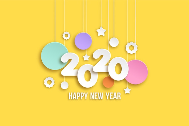 New year 2020 wallpaper in paper style