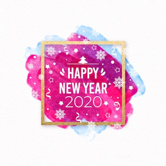 New year 2020 watercolor style