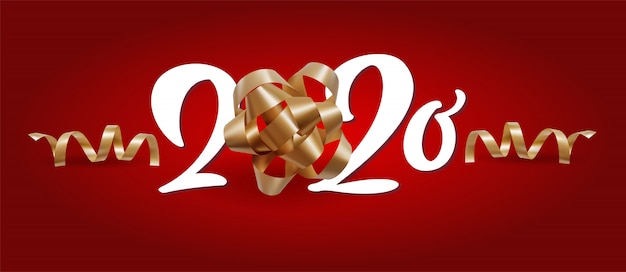 New year 2020 white number and christmas festive spiral ribbons on red background