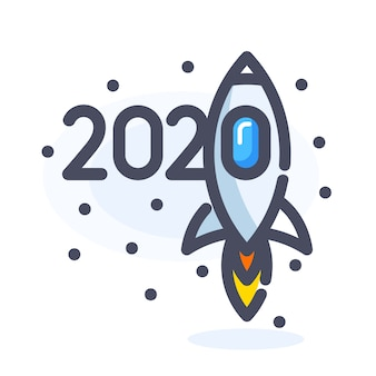 New year 2020 with flying rocket