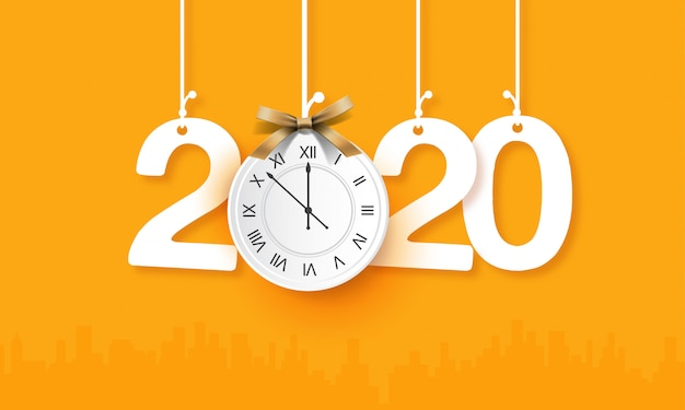 New year 2020 with hanging clock creative template