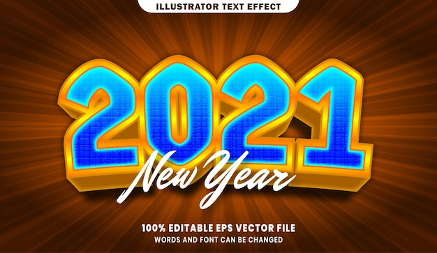 New year 2021 3d editable text style effect