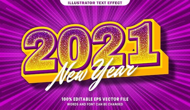 Новый год 2021 3d эффект стиля редактируемого текста