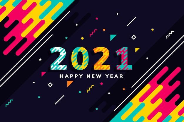 Sfondo del nuovo anno 2021 in design piatto