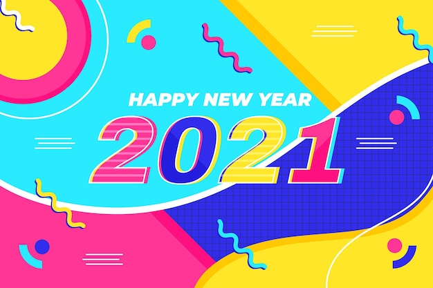 New year 2021 background in flat design