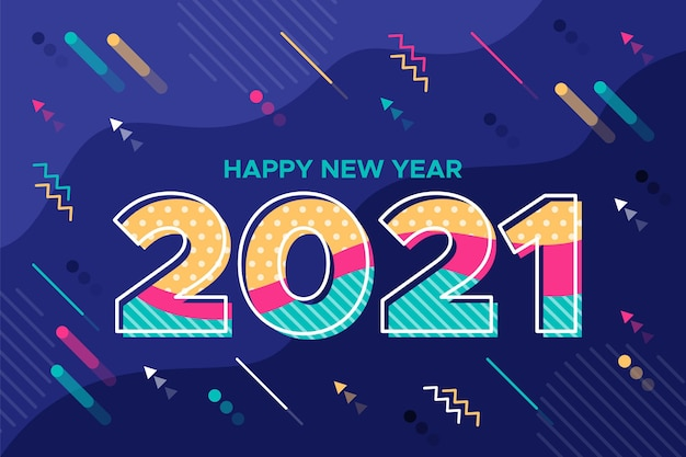 평면 디자인의 새 해 2021 배경