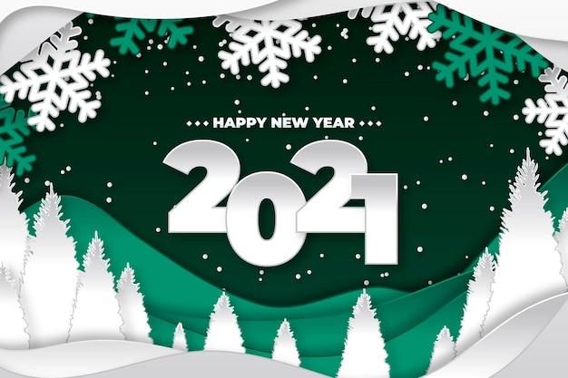 Новый год 2021 фон в бумажном стиле