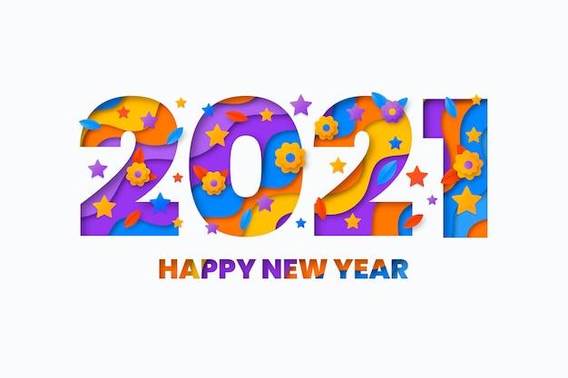 종이 스타일의 새 해 2021 배경