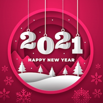 New year 2021 background in paper style with trees