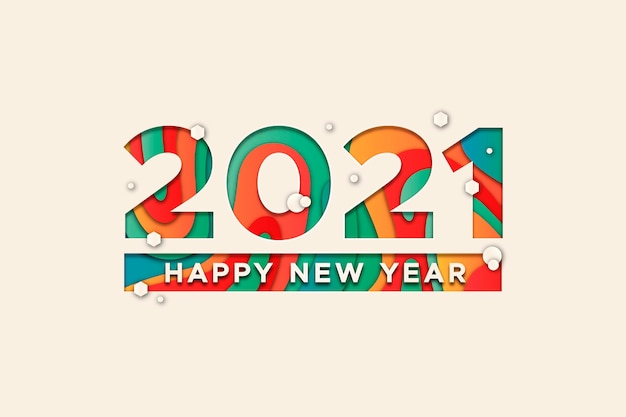 New year 2021 background in paper style
