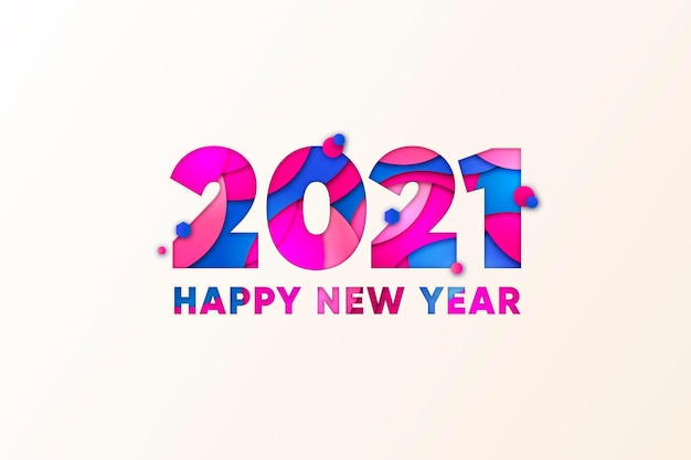 Sfondo del nuovo anno 2021 in stile carta
