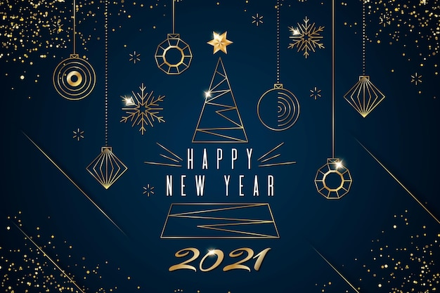 New year 2021 background with realistic golden decoration
