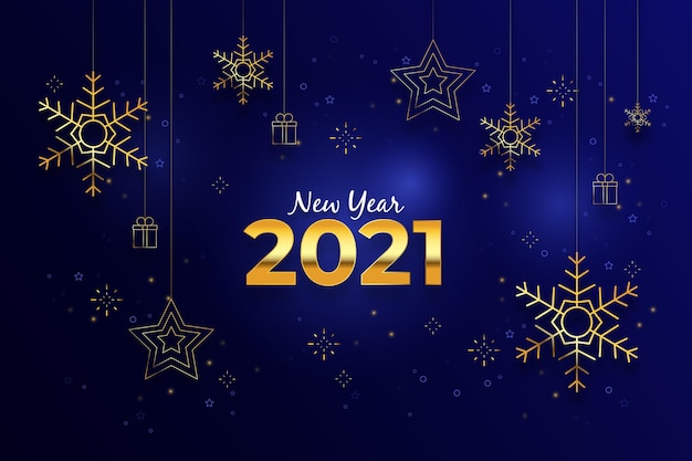 リアルな金色の装飾が施された2021年の新年の背景