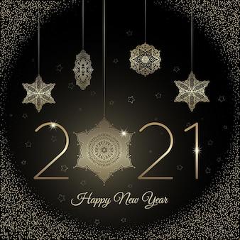 Новый год 2021 фон с реалистичным золотым декором