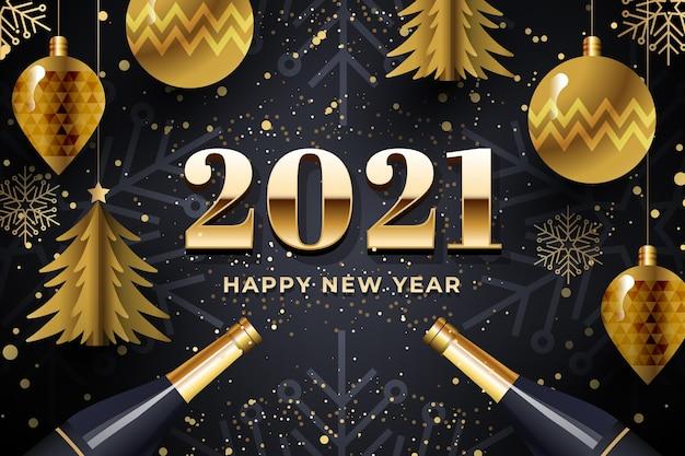 Sfondo del nuovo anno 2021 con decorazioni dorate realistiche