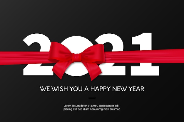 New year 2021 background with red ribbon