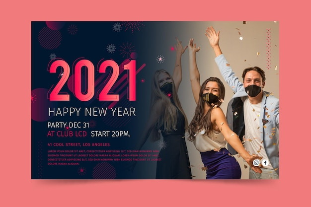 New year 2021 banner template
