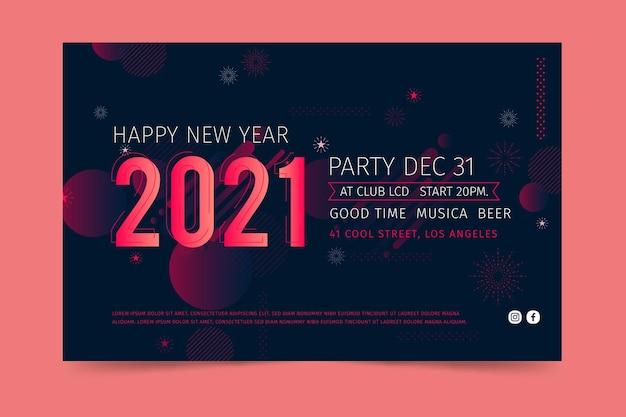 Modello di banner di nuovo anno 2021