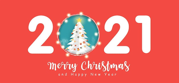 New year 2021 banner with cute santa clause .