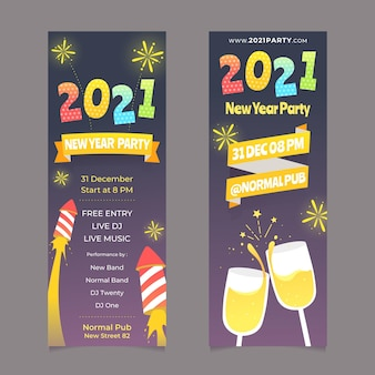 New year 2021 banners fireworks and champagne