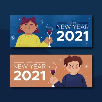 New year 2021 banners with characters and champagne