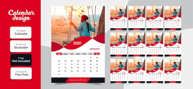 New year 2021 calendar design