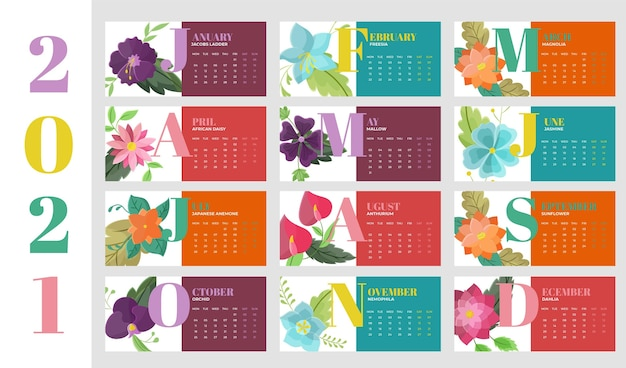 New year 2021 calendar in flat design