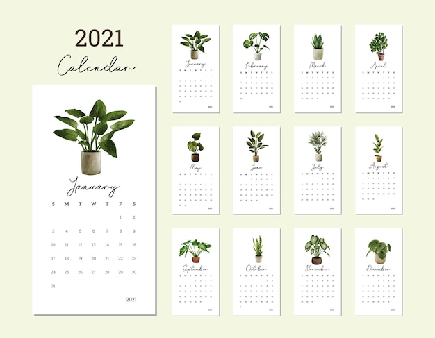 新年2021年カレンダーと植物の手描きイラスト