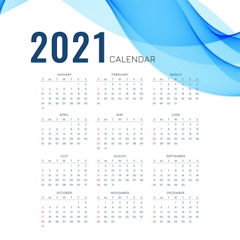 New year 2021 calendar with stylish blue wave