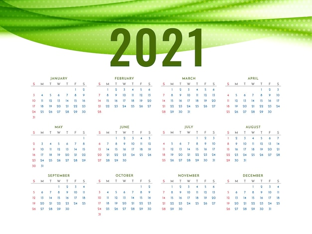 New year 2021 calendar with stylish green wave