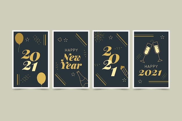 New year 2021 cards in flat design