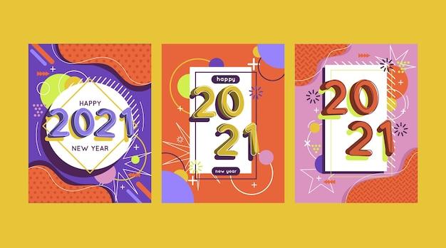평면 디자인의 새해 2021 카드