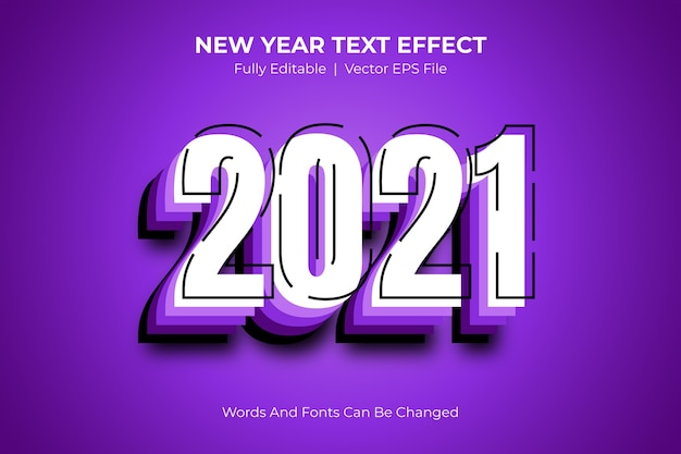 New year 2021 editable text style effect