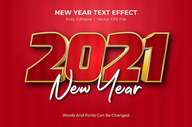 2021年の新年編集可能なテキスト