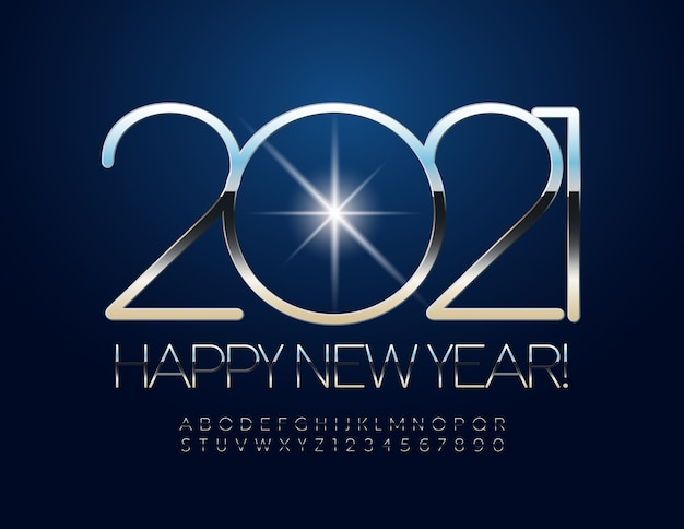New year 2021. elegant metallic font. silver alphabet letters and numbers