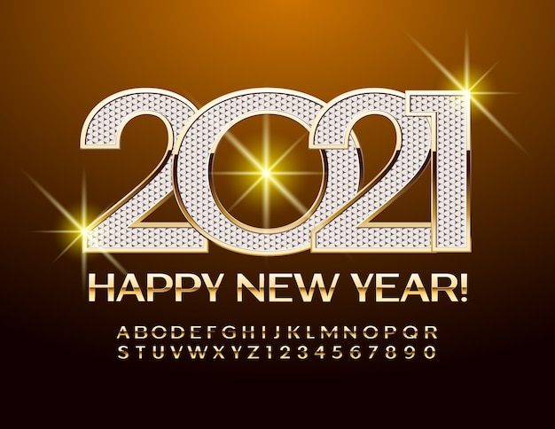 새해 2021. 우아한 반짝이 글꼴. 골드 알파벳 문자와 숫자 세트