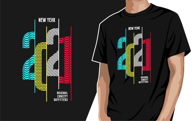 New year 2021 graphic t-shirt for print