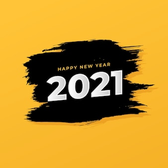 New year 2021 greeting card with brush stroke