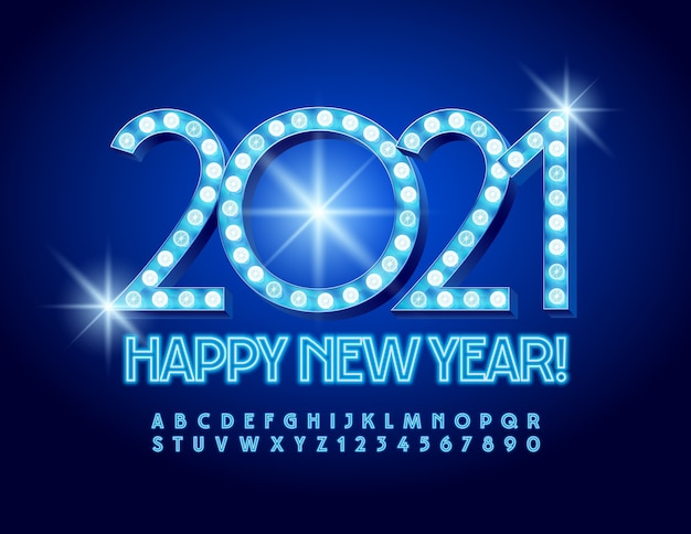 New year 2021. illuminated font. neon alphabet letters and numbers