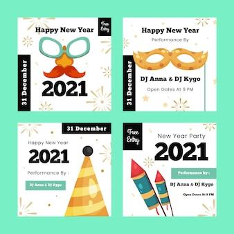Set di post di instagram del nuovo anno 2021