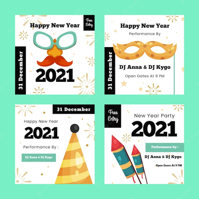 Free Vector New Year 2021 Instagram Posts Set