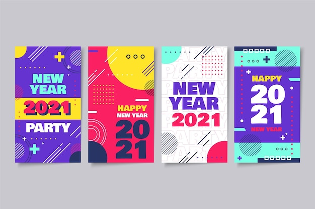 New year 2021 instagram stories set