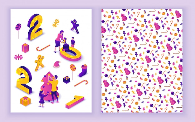New year 2021 isometric greeting card, 3d illustration, print 2 side template, family celebrating winter holiday party, christmas event concept, parents, cartoon people together, purple color
