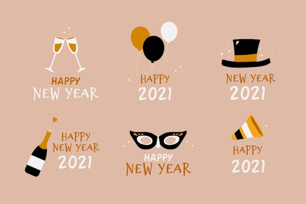 Новогодняя коллекция этикеток 2021 года в плоском дизайне