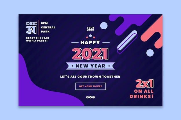 New year 2021 landing page template