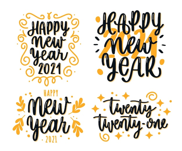 New year 2021 lettering collection