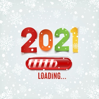 New year 2021 loading bar with snow and snowflakes.