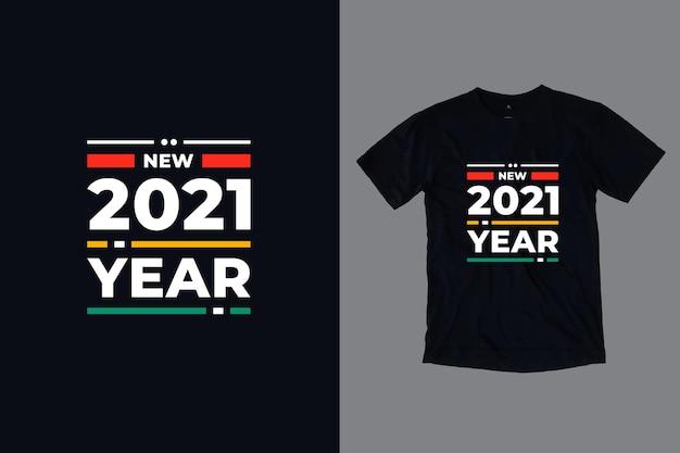 Новый год 2021 современный tpography цитирует дизайн футболки