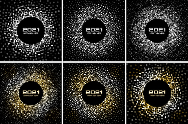 New year 2021 night disco party background set. gold glitter paper confetti. glistening silver festive lights. glowing circle frame.